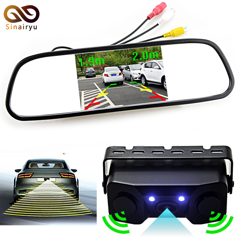Sinairyu 3in1 Video Parking Assistance Sensor Backup Radar With Rear View Camera + 4.3 inch LCD Car Rearview Mirror Monitor wireless parking assistance sensor backup radar with rear view camera 4 3 inch lcd car rearview mirror monitor video parking