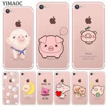 YIMAOC cerdito cerdo silicona blanda bonita funda de teléfono para iPhone XR X XS X 11 Pro Max 5 5S SE 6 6S 7 8 Plus 10 de la cubierta del TPU del