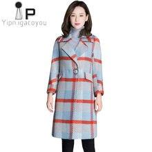 98de47e4c Outono Inverno Longo Casaco De Lã Das Mulheres Elegante Casaco 2018 Plus  Size Casaco de Lã Xadrez Coreano Do Vintage Feminino de.