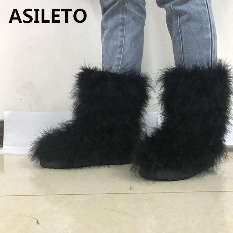 100% Wahr Asileto Winter Frauen Schnee Stiefel Echte Reale Haarigen Straußen Feder Furry Pelz Wohnungen Plüsch Warme Ski Outdoor Stiefel Bootie Shoest568