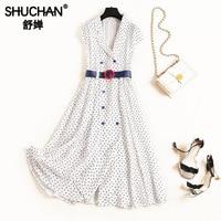 Shuchan, платье в английском стиле, модное летнее Дамское Платье, офисное платье, винтажные женские платья высокого качества с принтом 60 50 см,