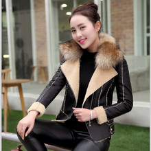Leather jackets Women short motorcycle jacket and blazers 2017 PU leather  Mosaic ladies locomotive Jackets Coats girls