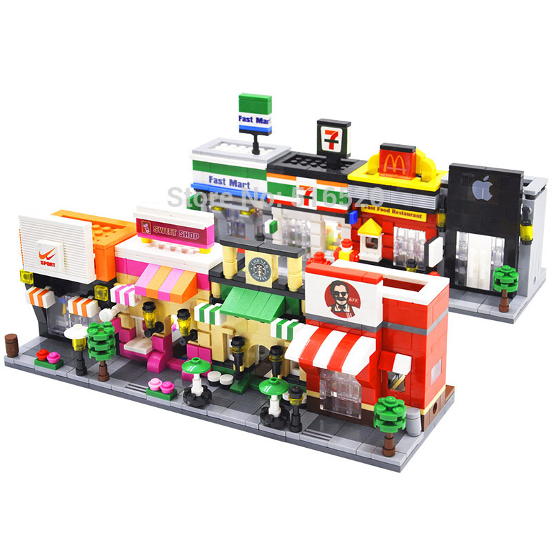 HSANHE Legoings Street 3D Retail Store McDonald Cafe Apple Shop Educational Building Blocks Toys for Children