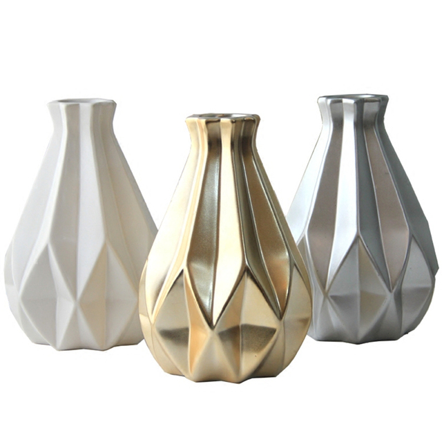 1 stücke Nordic 3 farben Medium keramik goldene vase silber handwerk ...
