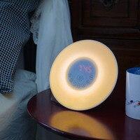 New Digital Luminous Alarm Clock Colored Sunrise Wake Up Light Lamp Nature Night Light With Sounds FM Radio Clocks BS