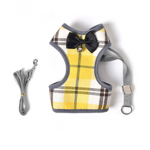 Black Bow Bell Design Dog Harness and Leash Set Breathable Mesh Dogs Collars Harnesses For Cats Pet Puppy Supplies