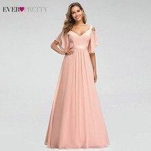 Vestido Madrinha Ever Pretty Pink Bridesmaid Dresses Off The Shoulder V-Neck Elegant Wedding Party Sukienka Wesele 2019
