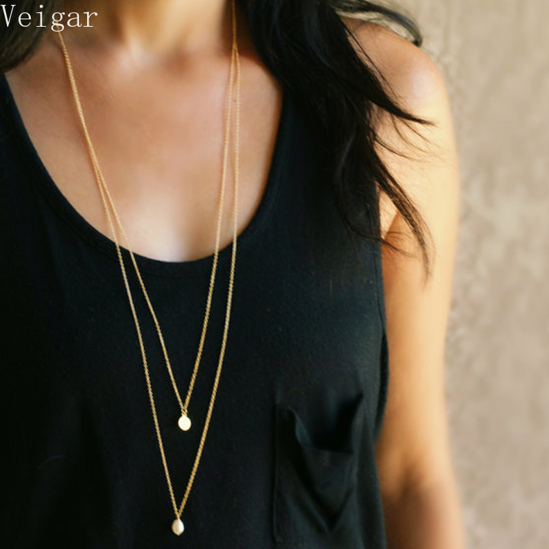Sharp-angled Imitation Pearl Pendants Necklaces Women 2018 Fashion Jewelry Double Chains Ladies Party Long Necklace Gold Color