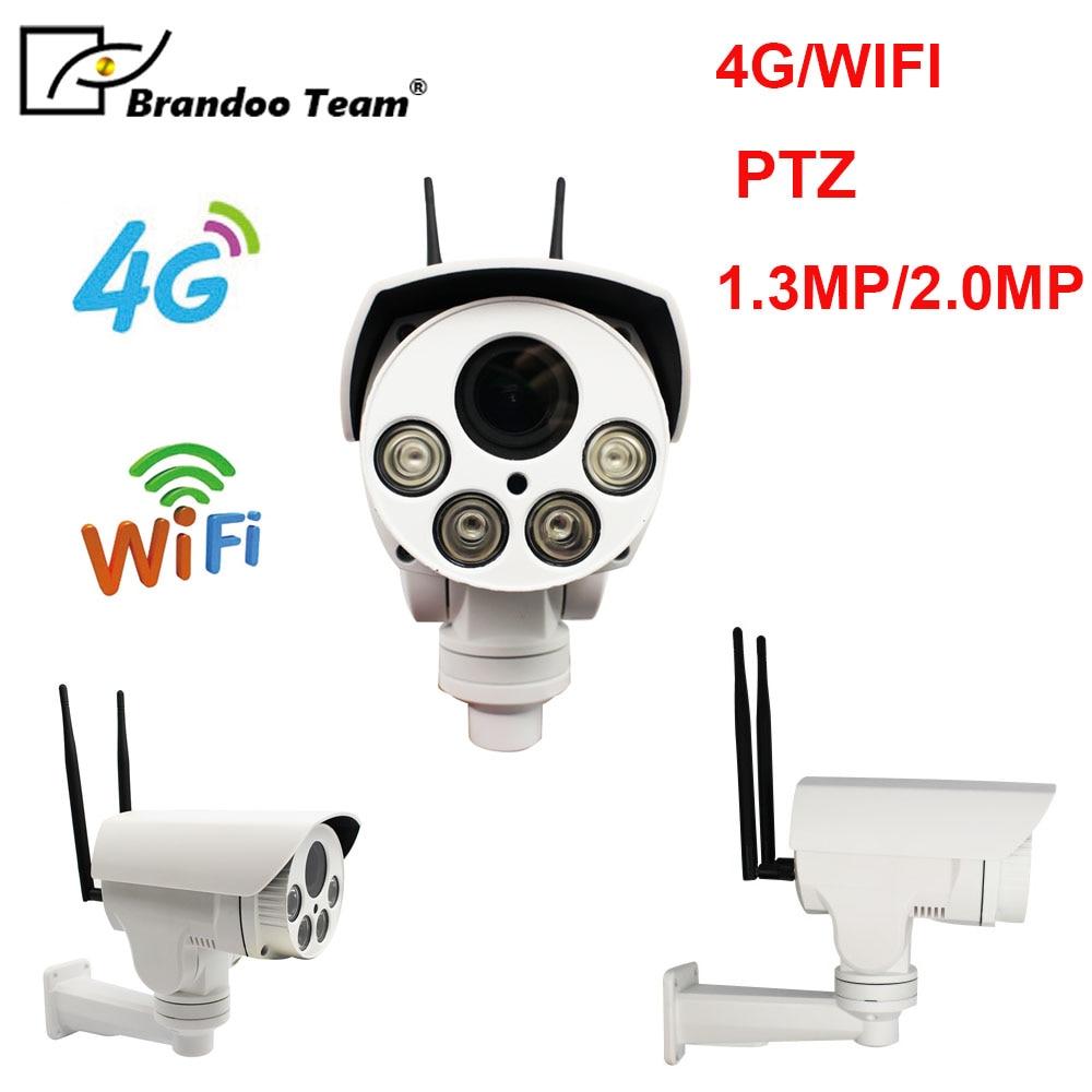 1080P 3G 4G PTZ IP Camera Outdoor Wifi SIM Card Camera P2P Support Micro SD Card Storage Wi-Fi Cam 4X Zoom Lens CCTV Cameras