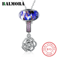 BALMORA 100% Real 925 Sterling Silver Jewelry Zircon Flower Delicate Pendant Necklaces for Women Lover Party Gift Bijoux SVM001