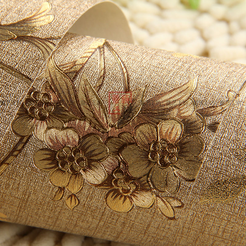 US $43 25 |Free shipping gold golden flower wallpaper Classical hotel  restaurant parlor golden background wallpaper 5 3m2-in Wallpapers from Home