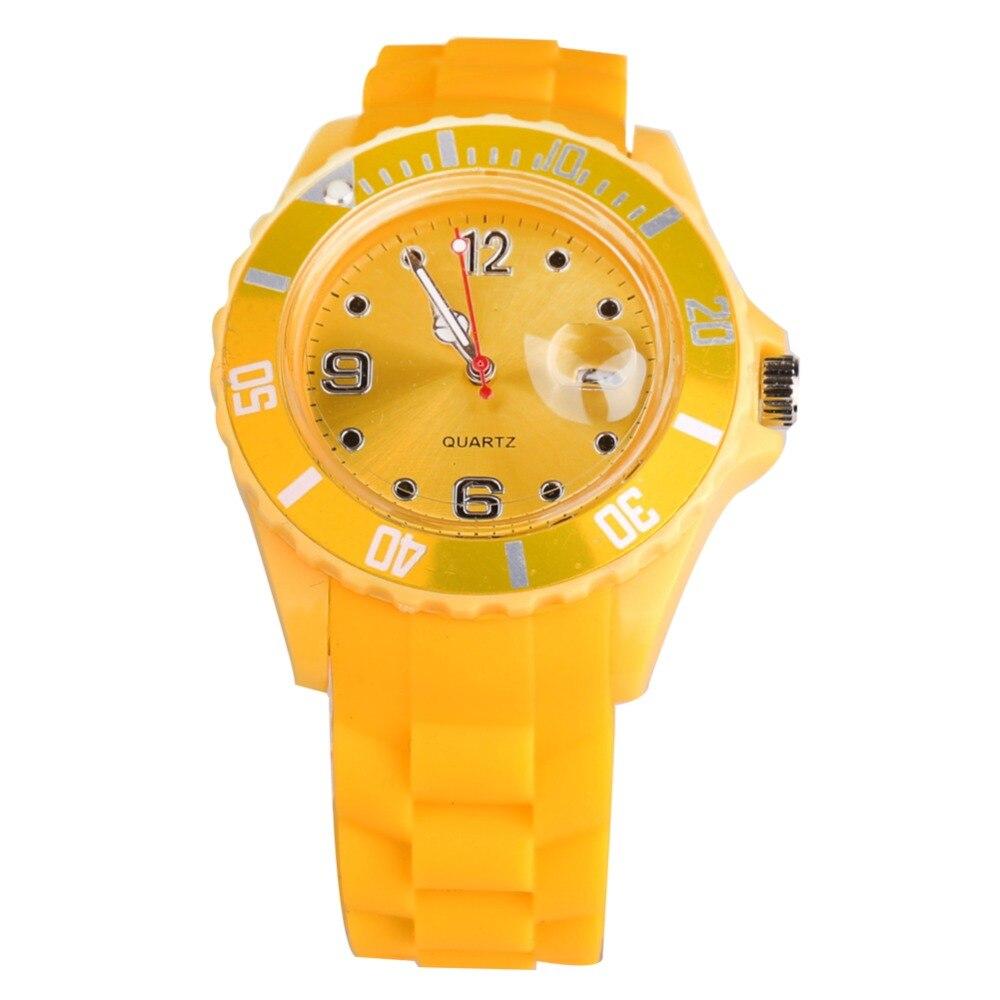 2019 Fashion Women Wristwatch Quartz Watch Yellow Silicone Unisex Sports Watch Men Reloj Mujer Kol Saat Female Clock Calendar