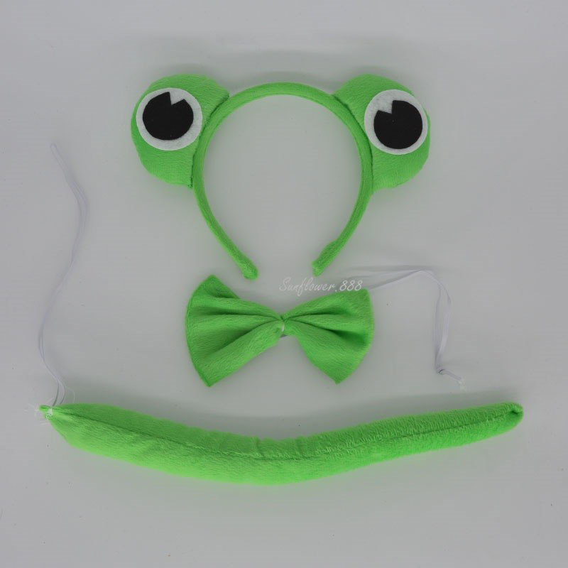 Cute Animal Tail Ear Headband Bow Tie 3Pcs Party Green Frog Fancy Dress Costume For  Halloween Carnivals Hot Christmas Navidad