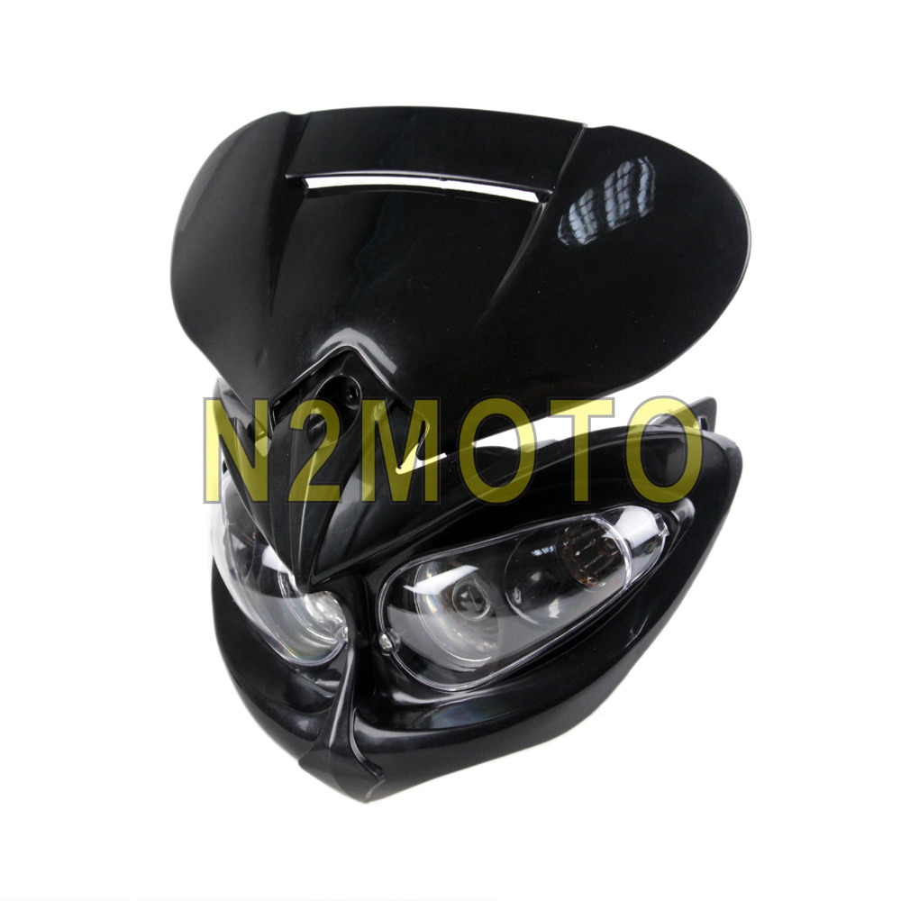 Custom Headlamp For Motorcycles Black Headlight Dirt Bike Dual Sport Streetfighter Head Light XR DRZ DR400 650 450 Z Enduro