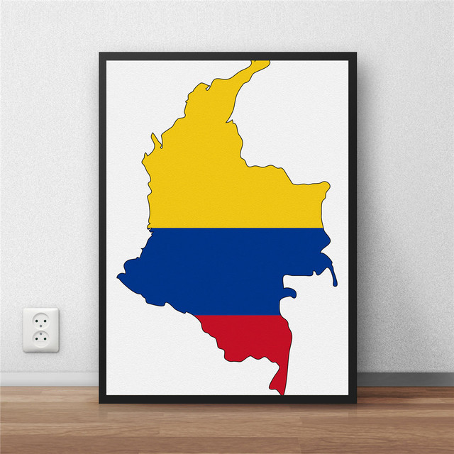 colombia Flag Modern Coated poster Home decoration Painting library ...