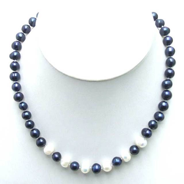 """SALE 6-7mm Black Natural Freshwater Pearl with 6 pieces White PEARL 17"""" Necklace -5901 Wholesale/retail Free ship"""