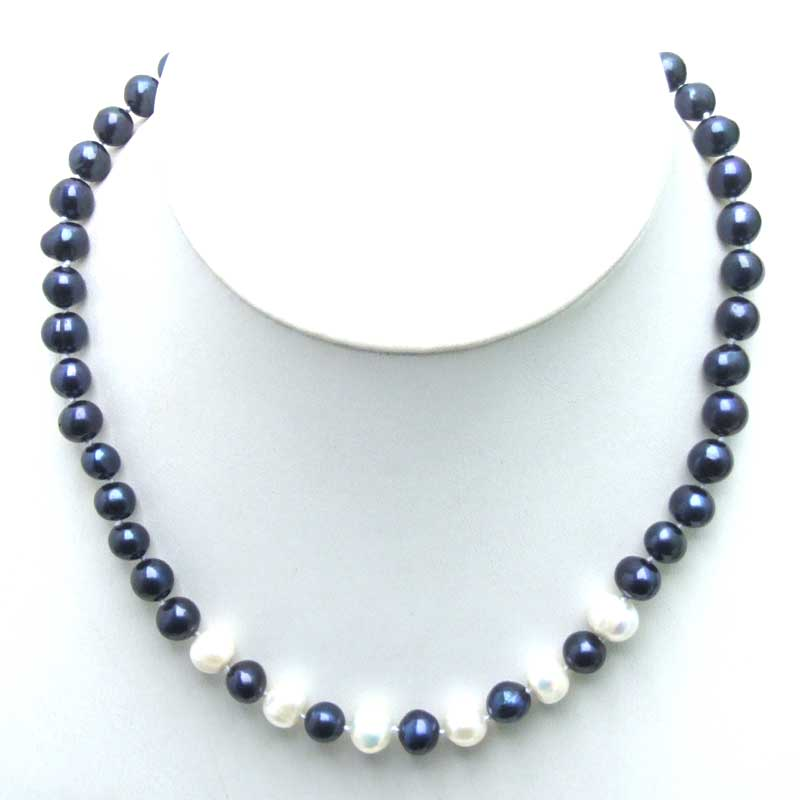 SALE 6-7mm Black Natural Freshwater Pearl with 6 pieces White PEARL 17 Necklace -5901 Wholesale/retail Free ship