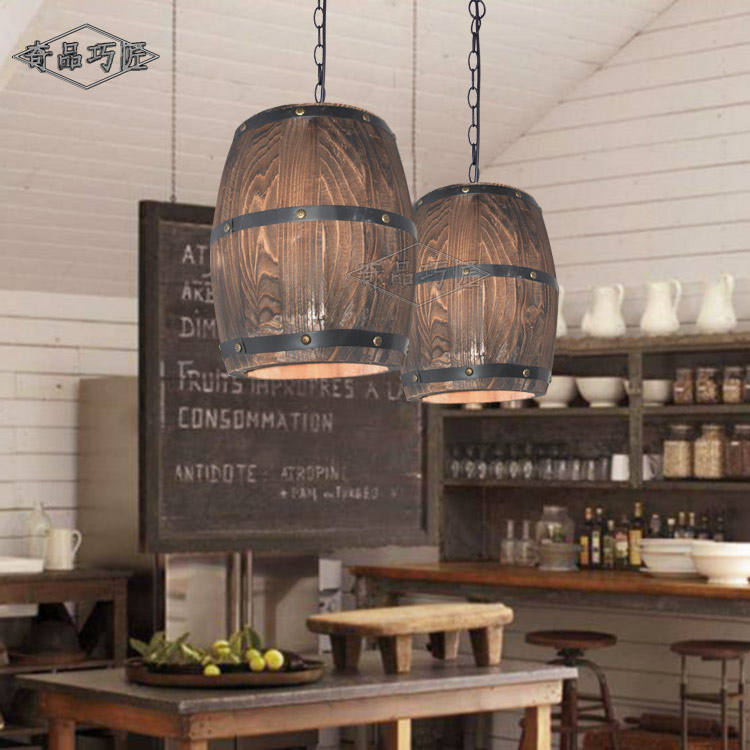 American Country Wooden Barrel Pendant Lights Kitchen
