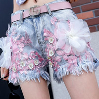 2018 Summer Women New Fashion Embroidery Lace Daisy T Shirts + Low Waist Slim Gloria Jeans Girl Student Hot Pants Two Piece Sets