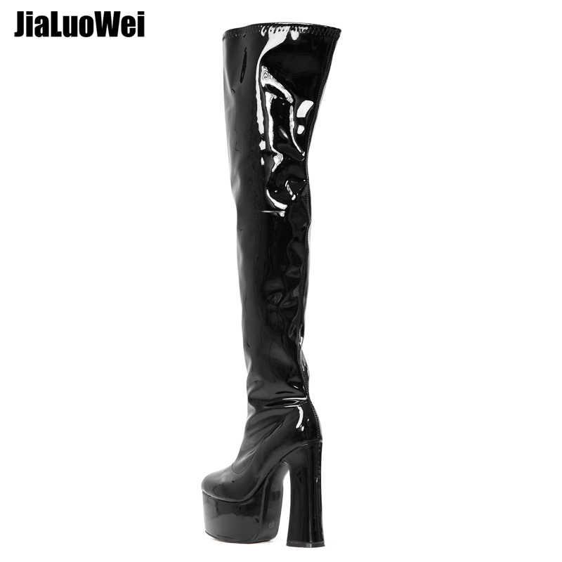 Jialuowei Over-The-Đầu Gối Giày Nữ Khối Vuông Gót Nền Tảng Dây Kéo Bên Hông Thu Đông Đùi Giày 15 Cm giày Cao Gót Size 36-46