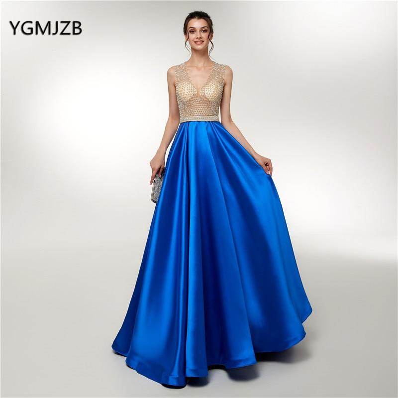 Vestidos Long Prom Dresses 2018 Elegant Beaded Top Sleeveless Satin Royal Blue Formal Evening Dress Party Gown Robe De Soiree