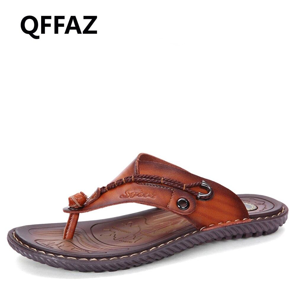 QFFAZ New Luxury Brand Men Flip Flops Soft Comfortable Leather Slippers Beach Slipper Flip Flop Summer Shoe Leisure Sandals