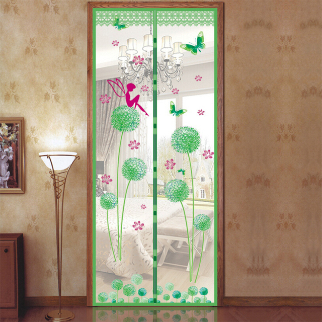 Summer High-grade Magnetic Stripe Soft Yarn Mosquito Curtain Small Apertures Screen Door Mosquito Net Prevent Dandelion Pattern