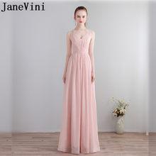 JaneVini Light Pink Chiffon Prom Dress Wedding Party Long Sexy Bridesmaid  Dresses Backless Sleeveless Vestidos D Fiesta Largos d9052e0e8a5c