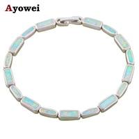 Ayowei Preço Mais Baixo de Alta Qualidade Charme Da Moda Pulseiras Branco Opal de Fogo de Prata Carimbado Belas Moda Jóias OB071A