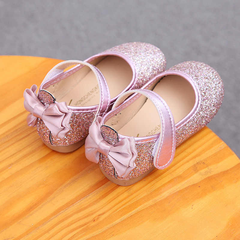 ... Mumoresip Glitter Leather Girls Shoes Bling Kids Casual Flats With  Butterfly-knot Back Pink Silver ... 1f20d65f64d3