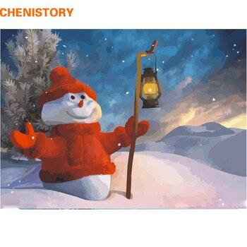 CHENISTORY Navidad muñeco de nieve DIY pintura por números Kits pintura acrílica pintura al óleo pintada a mano para decoración del hogar 40x50 cm arte regalo