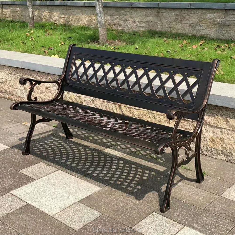 51 patio garden bench park yard outdoor furniture cast aluminum frame porch chair in bronze color
