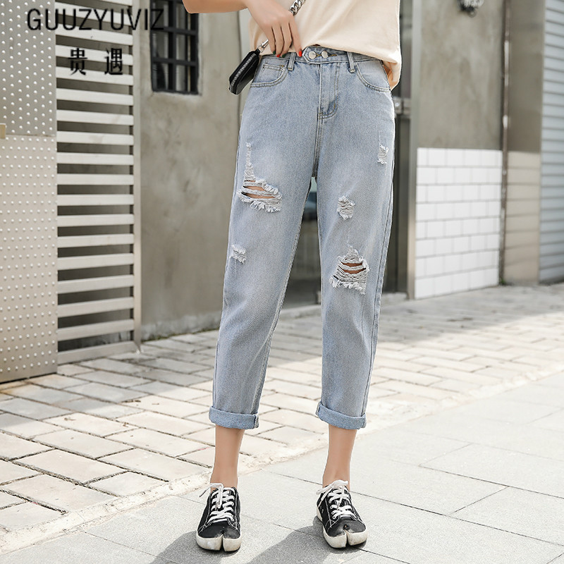 GUUZYUVIZ Ripped Jeans For Women Vintage Plus Size Jeans Woman High Waist Denim Trousers Ladies Loose Casual Jean Femme(China)