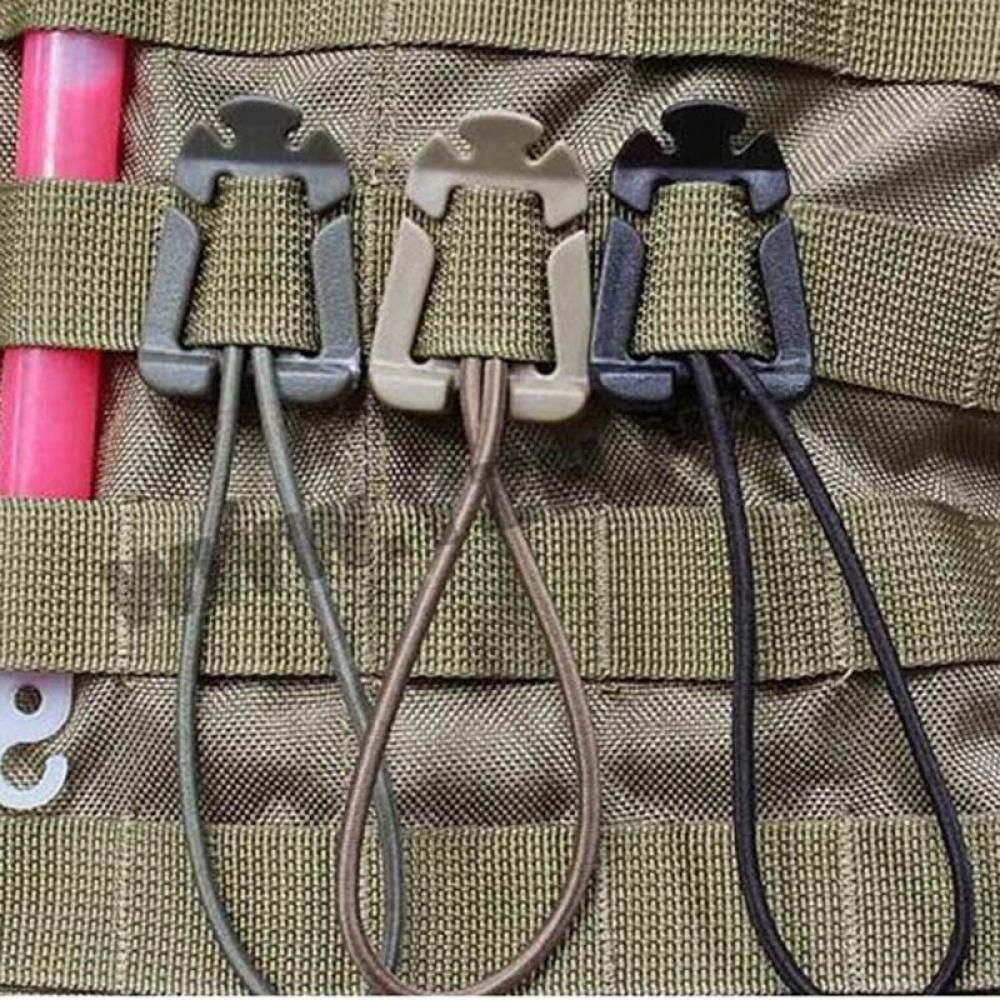 4 Colors 2 Pcs/lot Molle Backpack Carabiner EDC Tool Elastic Rope Webbing Buckle Winder Bag Accessories 360 degree rotation tactical d ring buckle for molle locking carabiner backpack khaki 2 pcs