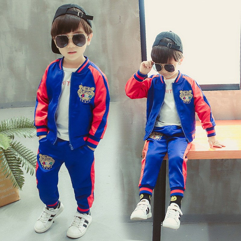 Children 2T 10Y Long Sleeve Colorful Patchwork Cartoon Print Baseball Clothing Sets Sports Clothing Sets