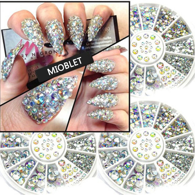 Hot Sale AB Colorful Acrylic Nail Rhinestone Pearl Wheel 5 Sizes DIY Nail  Art 3D Glitter Crystal Decoration Accessories Manicure 002766a98643