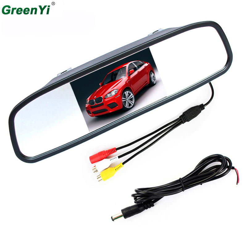 4 3 inch Digital TFT LCD Mirror Car Parking Rear View Monitor With 2 Video Input