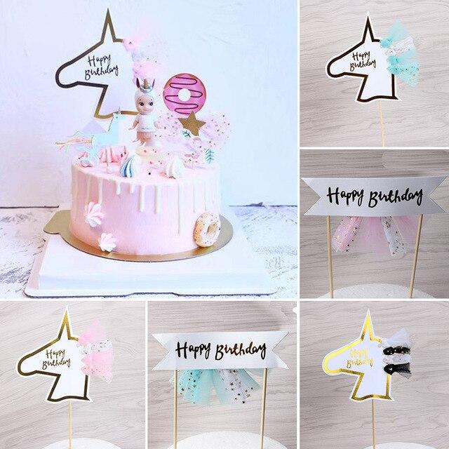 2pcs Lot Unicorn Cake Topper Gold Paper Happy Birthday Cupcake For Kids Wedding