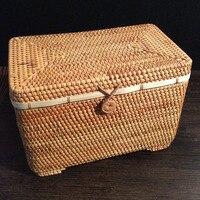 100% handmade Rattan Pu 'er tea Sundries storage box Rectangle cosmetic make up organizer food storage desk rangement tin boxes