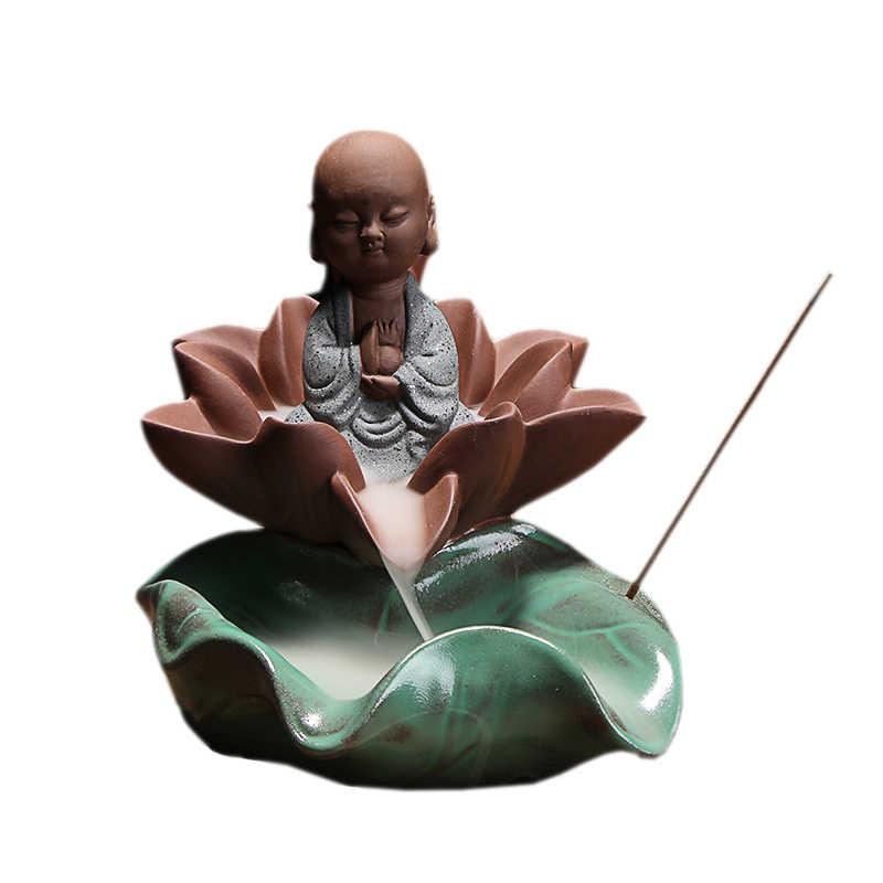 Украшение дома маленький монах лотоса кадильница в форме цветка Blackflow пирамидки благовоний или декоративная тарелка-подставка курильница