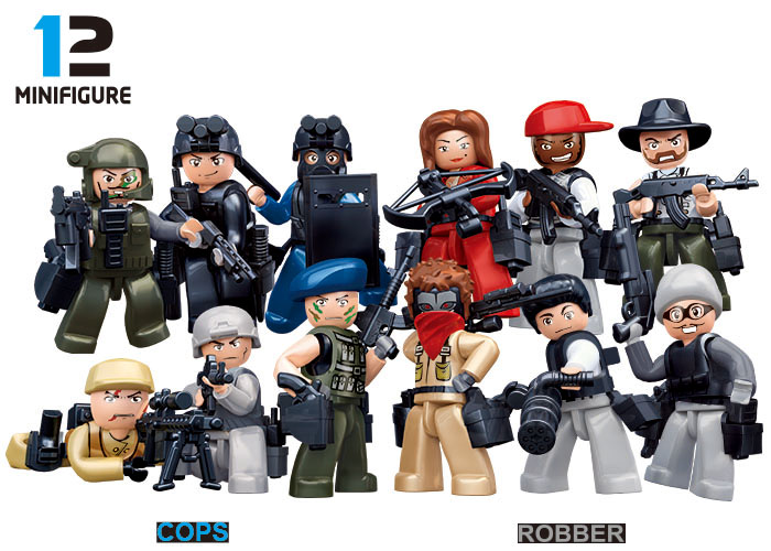 Sluban City Police Riot SWAT The Wraith Assault Ghost Military Weapons Figures Building Block Sets Compatible With Legoe police pl 12921jsb 02m