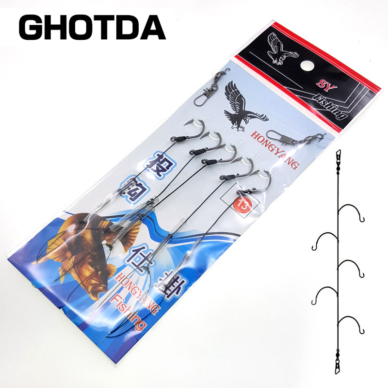 High Carbon Steel Fishhooks with 5 Small Rigs Swivel String Hook