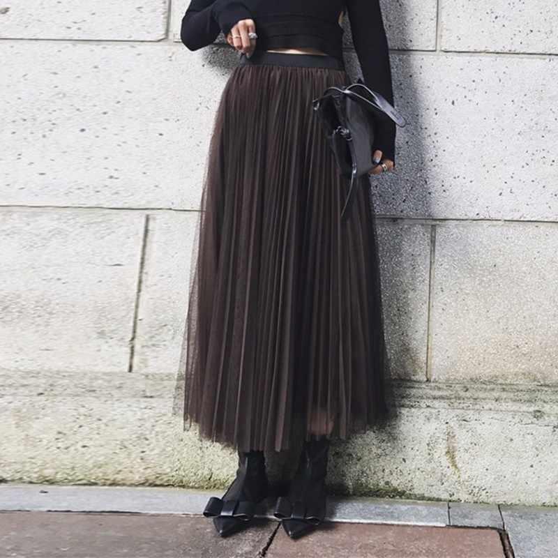 Fanco lato Mesh długa spódnica kobiet w pasie luźne duży rozmiar dorywczo kobiet spódnice moda nowy