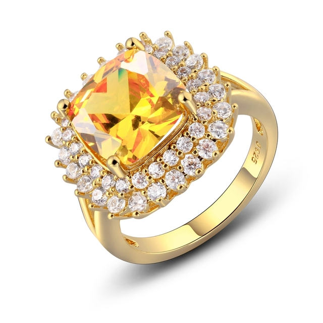 925 Sterling Silver Rings for Women Solitaire Cushion Yellow Natural Citrine CZ