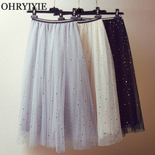 OHRYIYIE Stars Moon Sequined Tulle Skirts Women 2019 Spring Summer Sweet A-line