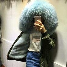 Newest comfortable zipper fur hooded coat winter flight coats Light blue fur inside bomber jacket
