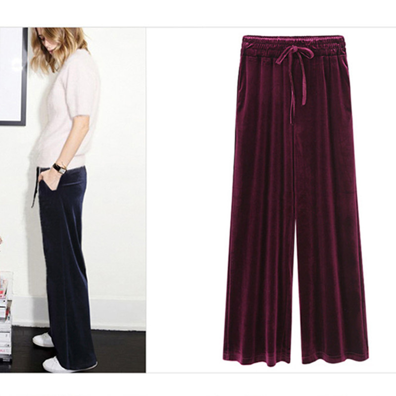 WSYORE Loose Corduroy   Pants   New Autumn and Winter Europe Women Plus Size Casual Long Trousers Women   Wide     Leg     Pants   NS853