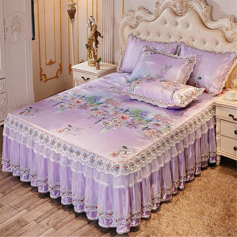 High Quality Luxury 3pcs Summer Cool Bed Mat Lace Skirted Bed Sheet Printed Floral Bed Cover Ice Bedspreads Free Shipping