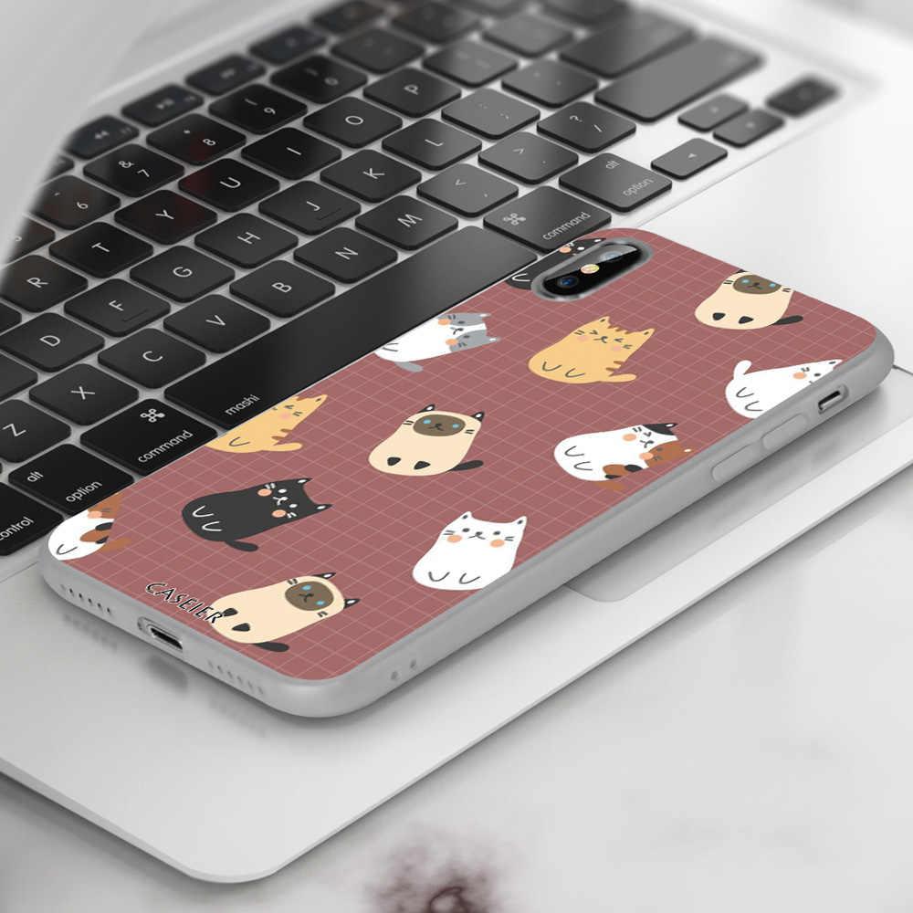 CASEIER belle coque de téléphone chat pour iphone X XS MAX XR 7 8 étui mat sac pour iphone 7 8 6 6s 11 Pro Max couverture Fundas coque Capa
