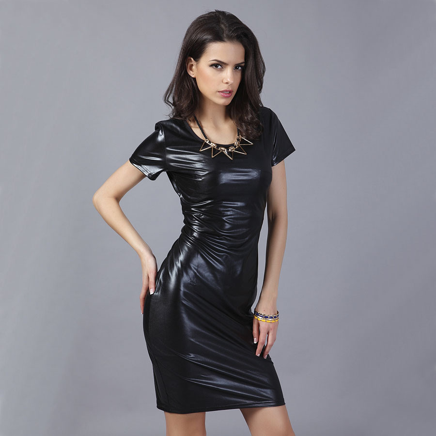 Sexy Club Party Dresses 2017 Women Black Pu Leather Dress -5873